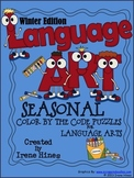 """Winter Language """"Art"""" ~ Seasonal Color By The Code Printable Puzzles"""