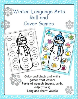 Winter Language Arts Roll and Cover Games
