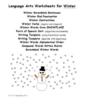Winter Language Arts - contractions, parts of speech, compound words, and more