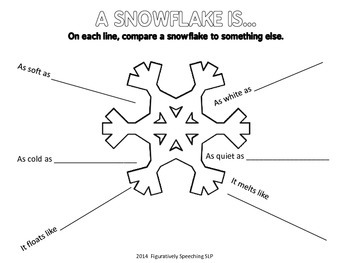 Winter Language Freebie: Directions, Similes, and Poetry
