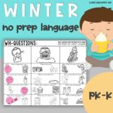 Winter Language No Prep Speech Therapy Activities
