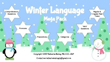 Winter Language-Pack (Tense,Wh-, Categories,Prepositions,Pronouns,Comprehension)