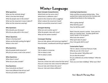 Winter Language and Articulation Activities for mixed groups and RTI
