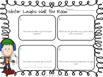 Winter Laughs- A Math Review and Winter Joke Walk the Room Activity Gr. 1