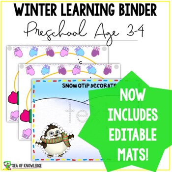 Winter Learning Busy Book Binder Preschool Toddlers Age 3-4 - CUSTOM MADE