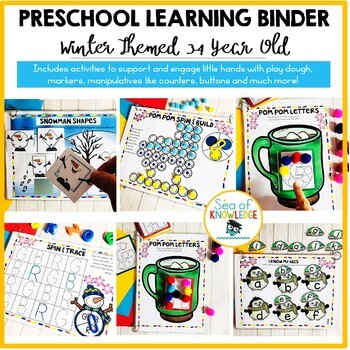 Winter Printable Learning Busy Book Preschool Toddlers Age 3-4 - CUSTOM