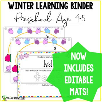Winter Learning Busy Book Binder Preschool Toddlers Age 4-5 - CUSTOM MADE