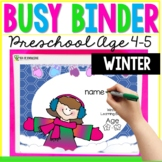 Winter Learning Busy Book Binder Preschool Toddlers Age 4-