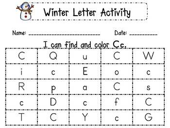 Winter Letter Identification Printables
