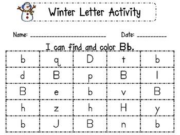 Winter Letter Identification Printables