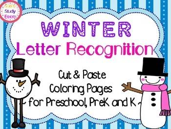 Winter Letter Recognition Cut Paste Coloring Pages For Preschool PreK K