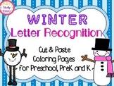 Winter Letter Recognition: Cut & Paste & Coloring Pages fo