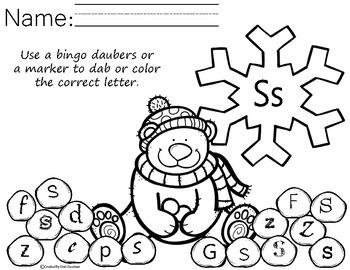 Winter Letter recognition - bingo dab activity