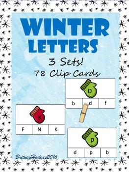 Winter Letters Clip Cards: Uppercase and Lowercase!!