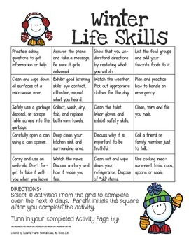 Winter Life Skills Activities for Home