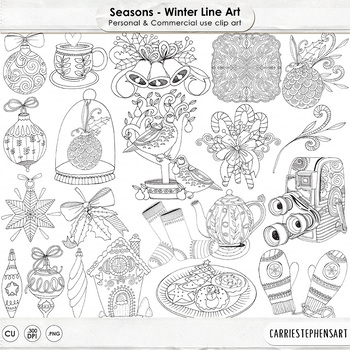 Winter Line Art Illustration, Seasonal Doodles, Hand-Drawn Christmas Holiday