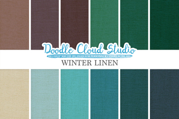 Winter Linen Fabric digital paper pack, cool colors Backgrounds