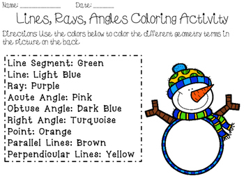 4th Grade Geometry Coloring Activity (Lines, Angles, and Rays)