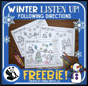 Winter Listen Up! Following Directions FREEBIE