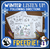 Winter Listen Up! Following Directions FREEBIE
