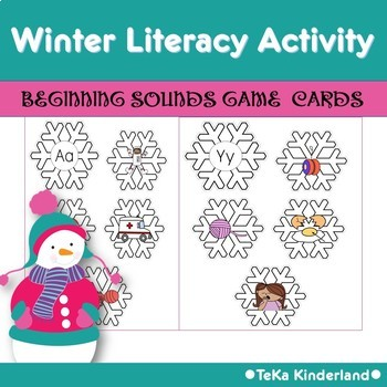 Winter Literacy Activity Beginning Sounds Games for Pre-K & Kindergarten Pack 2