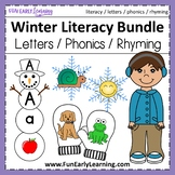 Winter Literacy Bundle - Letters, Initial Sounds, Letter Sound Correspondence