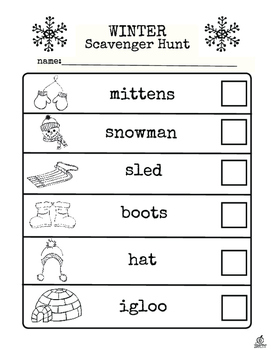 Winter Literacy Center and Winter Scavenger Hunt