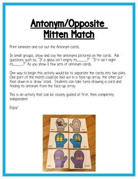 Winter Literacy Centers: Antonyms/Opposites for Preschool, PreK & K