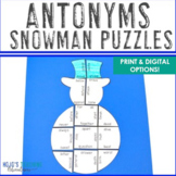 Winter Literacy Centers: Antonyms Snowman Puzzle | Christm