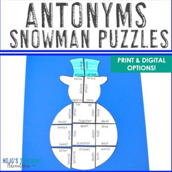 Winter Literacy Centers: Antonyms Snowman Puzzle | Winter ELA Centers