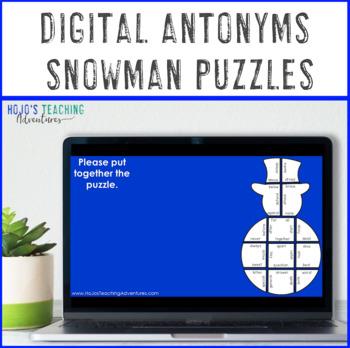 ANTONYMS Snowman Worksheet Alternatives | Christmas Literacy Game or ELA Center