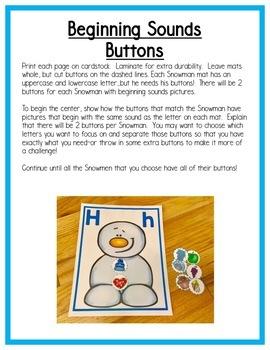 Winter Literacy Centers: Beginning sounds for Preschool, PreK, K & Homeschool