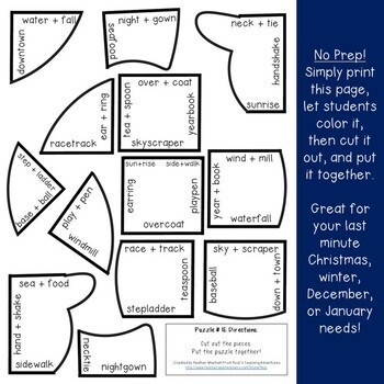 Winter Literacy Centers: Compound Words Snowman Puzzles - Differentiated Options