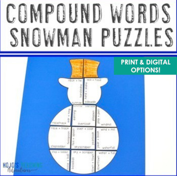 Winter Literacy Centers: Compound Words Puzzles | Christmas Literacy Centers