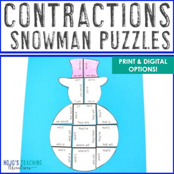 Winter Literacy Centers: Contractions