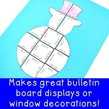 CONTRACTIONS Snowman Worksheet Activity | Christmas Literacy Centers or Games