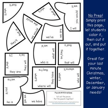 CONTRACTIONS Snowman Worksheet Activity | Winter Literacy Centers or Games