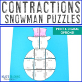 CONTRACTIONS Snowman Worksheet Activity | Christmas Litera
