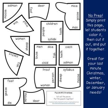 Winter Literacy Centers: Irregular Plural Nouns Snowman Puzzle