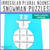 IRREGULAR PLURAL NOUNS Snowman Craft Alternative | Christmas Literacy Centers
