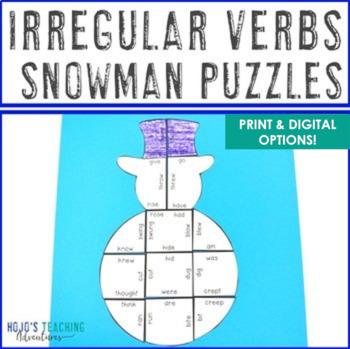 Winter Literacy Centers: Irregular Verbs Snowman Puzzles | Winter Activities