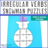 Winter Literacy Centers: Irregular Verbs Snowman Puzzles |