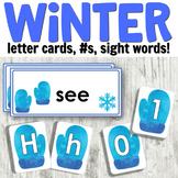 Winter Literacy Centers: Letter Cards, Sight Words, Number