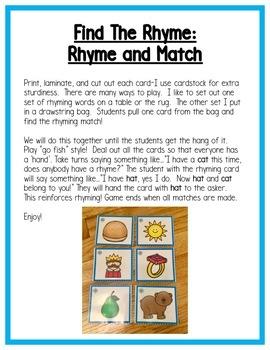 Winter Literacy Centers: Rhyming for Preschool, PreK, K & Homeschool