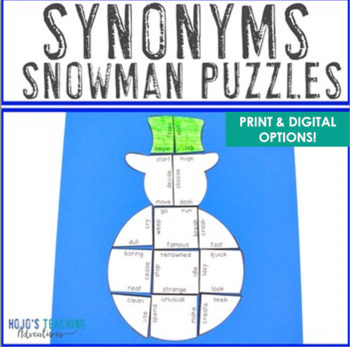 Winter Literacy Centers: Synonyms Snowman Puzzle