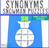 Winter Literacy Centers: Synonyms Snowman Puzzle | Christm