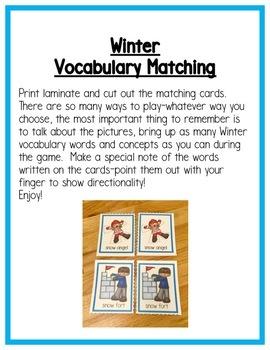 Winter Literacy Centers: Vocabulary for Preschool, PreK, K & Homeschool
