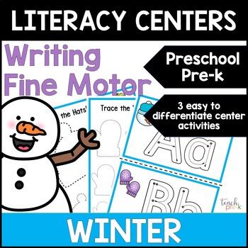 Winter Literacy Centers: Writing for Preschool, PreK, K & Homeschool