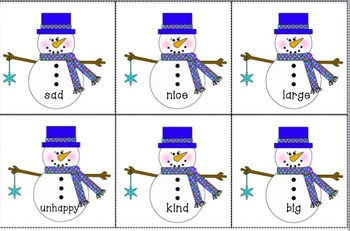 Winter Literacy Centers for 2nd-3rd Grade (Synonyms, Antonyms, and ABC Order)