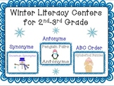 Winter Literacy Centers for 2nd-3rd Grade (Synonyms, Anton